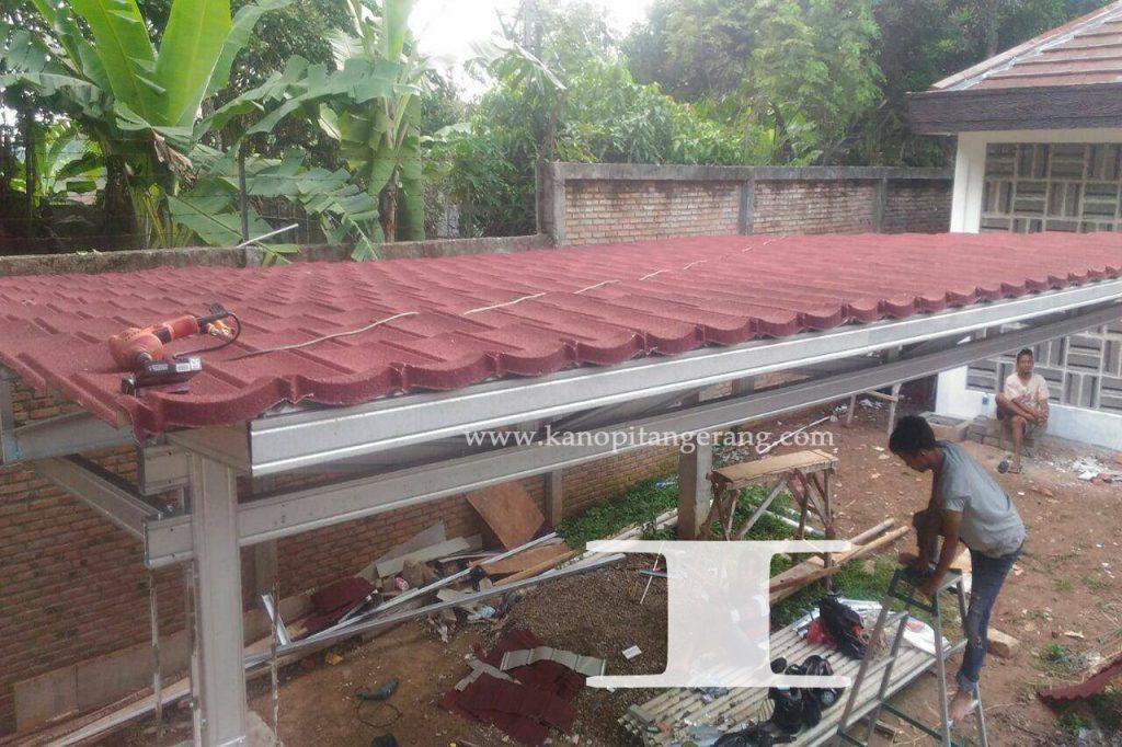 Kanopi Baja Ringan Atap Genteng Metal Red Kanopi Tangerang